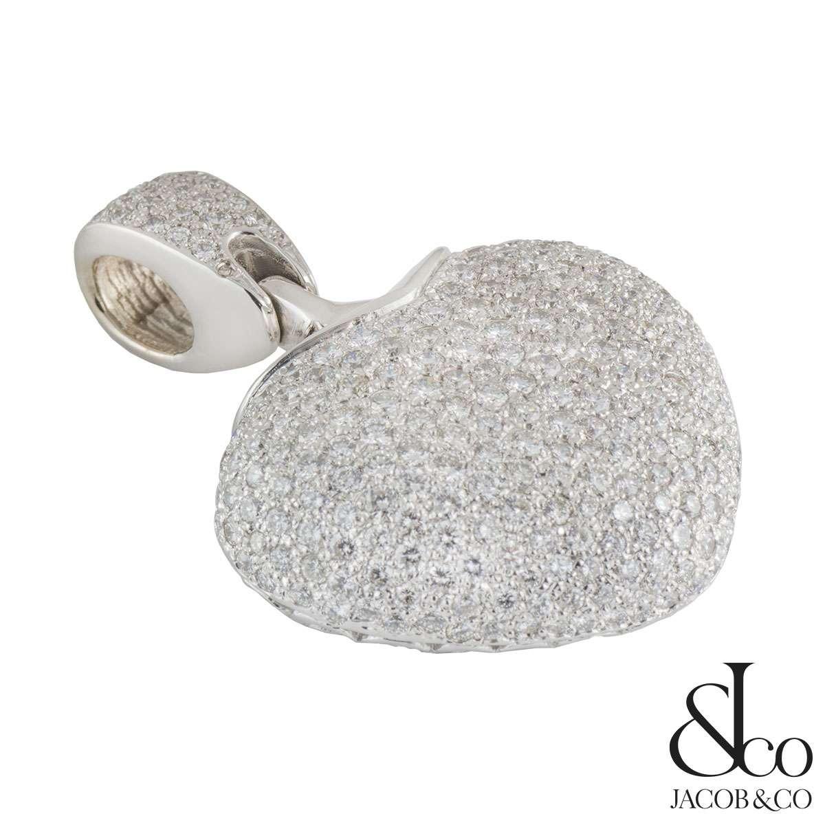 Jacob & Co White Gold Diamond Heart Pendant